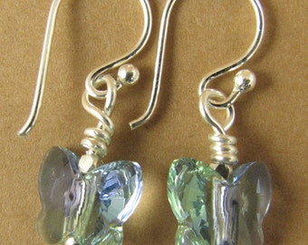 Butterfly earrings using swarovski elements crystals. Blue/green/lavender. Sterling silver.