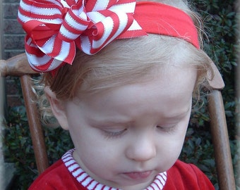 Christmas baby headband, red white silver bows, striped hair bows, little girl hair bows, hair bows for girls, Red baby headband, metallic