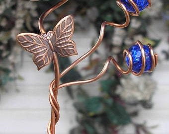 Butterfly/Dragonfly Garden Plant Stake - Metal Sculpture - Glass Orb Copper Art - Yard Lawn Outdoor Pond Cobalt