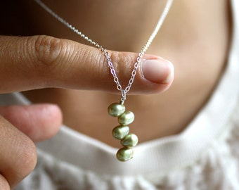 Sage Green Bridesmaid Necklace . Green Pearl Necklace . Pearl Pendant Necklace Silver . Light Green Necklace - Crescent Collection