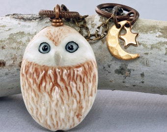 Owl Necklace Owl Pendant Ceramic Owl Necklace Owl Jewelry Star Necklace Moon Neckace Fall Autumn Necklace Woodland Necklace Rustic Owl Brass