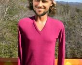 vintage 70's sweater v-neck GAP magenta pink acrylic soft knit preppy Medium Small purple 80s