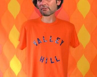 70s vintage tee shirt VALLEY HILL orange team uniform t-shirt Large north carolina #16