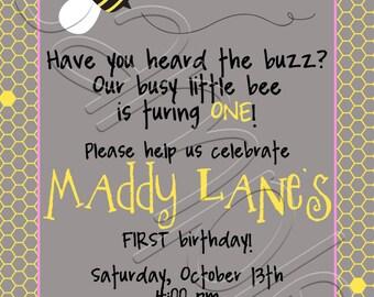 Printable Bumble Bee Birthday Party Invitation