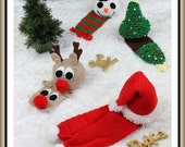 CROCHET PATTERN For Christmas Hats & Scarf, Beanie, Reindeer, Santa, Tree, Snowman  in 5 Sizes PDF 230 Digital Download