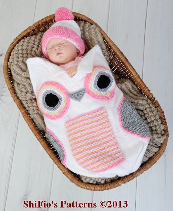 Crochet Owl Baby Cocoon : KNITTING PATTERN For Baby Owl Cocoon, Papoose, Hat Knitting Pattern in ...