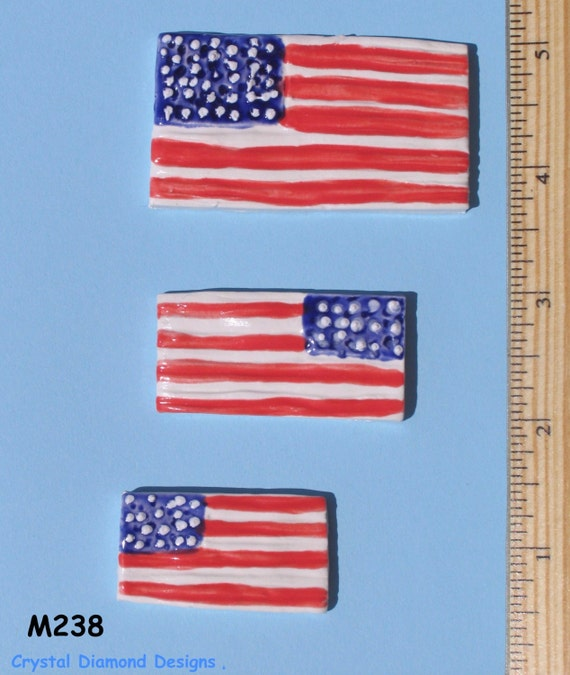 Amerian Flag  tiles- Tiles are Kiln Fired, Handmade, and Ceramic for use in your Mosaic Design M238