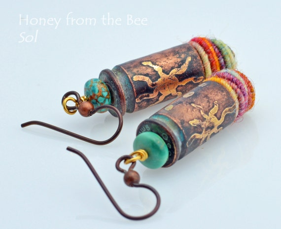 Sun Earrings - Sol - Etched bullet casing, turquoise, fiber