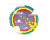 Lisa Frank Rainbow Ring and Stars Sticker 80's Vintage 1982 Clouds