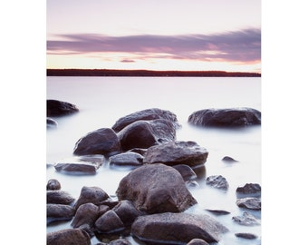 Sunset Photography - Coastal Wall Art - Beach Rocks - Water Art - Beach Pictures - Landscape Photography - Georgian Bay - Lake Huron