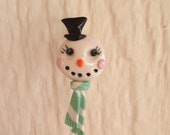 Mrs Frosty the Snowman Pin Topper
