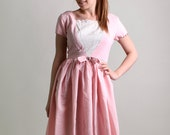 Vintage 1950s Dress - Sweet Cotton Candy Pink Day Dress - Medium