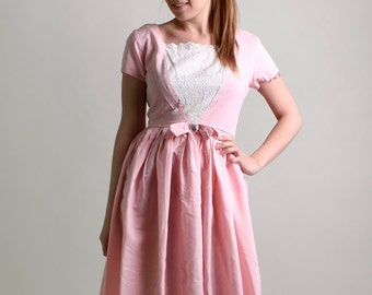 Vintage 1950s Dress - Sweet Cotton Candy Pink Day Dress - Medium