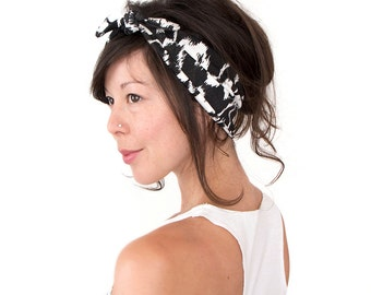 Tie Up Headscarf Black and White Abstract