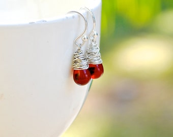 Red Czech Glass Earrings, Red Teardrop Sterling Silver Earrings, Garnet Red Drop Earrings, Deep Red Earrings,