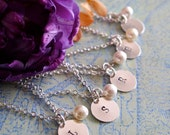 FIVE Bridesmaid Necklaces, Personalized Bridesmaid Set, Pearl Necklace with Initial, Bridesmaid Gift, Bridal Party Gift