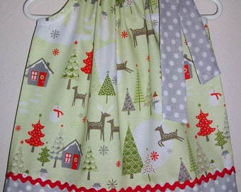 Christmas Dress Pillowcase Dress with Deer Woodland Theme Winter Dress with Snowman Holiday Dresses for Girls Dresses Baby Girl Clothes