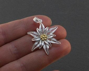 Edelweiss - silver filigree pendant