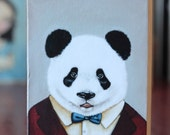 "Mr Panda -  print on wood 2.5""x3.5"""