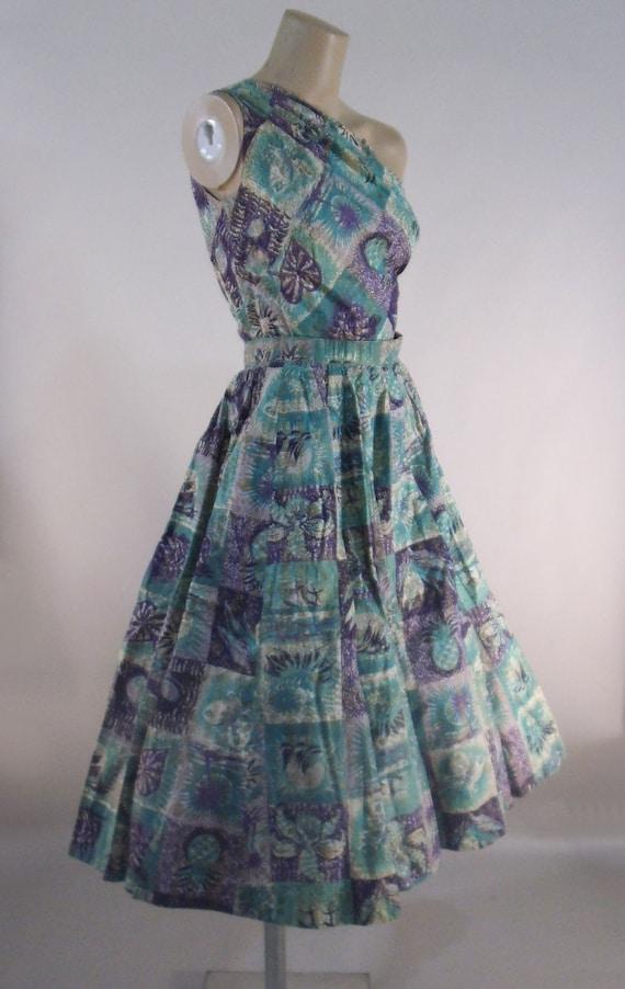 50s Tiki Print Dress Full Skirt One Shoulder Aqua Purple Gold Hawaiian Size Extra Small XS Vintage