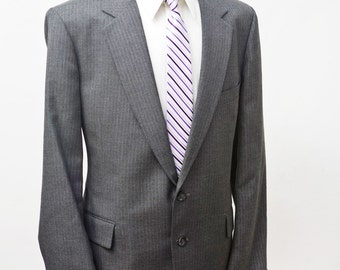 Men's Suit / Two-Piece Vintage Grey Pinstripe Blazer and Trousers / Size 44