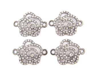 Rhinestone Flower Bracelet Connectors Link Gunmetal Jewelry Connector Open Rose Bracelet Link Jewelry Finding  S7-11 4 XH