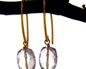 Gold Rose Amethyst Gemstone Earrings with Simple Vermeil Marquis Wire Hooks - February Birthstone