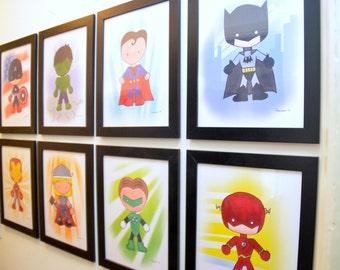 Framed DC Hero Prints Set of 4