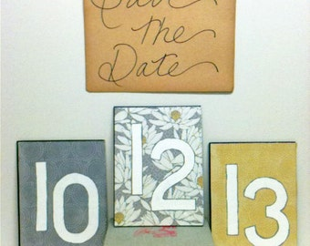 Gray Wedding, Yellow Wedding, Modern , Save the Date, Photo Prop, Table Numbers, Reception Decor, Bridal Shower, Book Wedding, Engagement