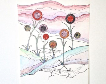 STUDIO SALE Red, Blue, and Purple Field - Original Painting
