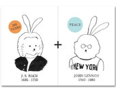 "2 POSTCARDS - ""Bach"" and ""Lennon"" - drawing - black and white - rabbit and musician - set"