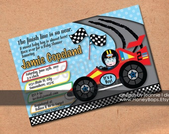 Race Car Invitation Birthday Baby Shower Boy  Custom BLUE or GREEN - uPrint JPG
