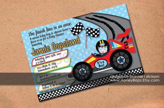 race car invitation birthday baby shower boy custom blue or green