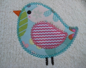 Reversible Bib Bird Applique for Baby Girl