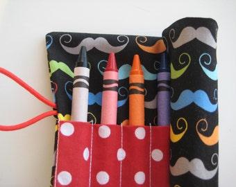 Crayon Roll Wallet Mustache Includes 8 Crayons