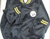 Vintage Pittsburgh Steelers NFL Chalk Line Jacket Coat Nylon Black and Yellow NFL