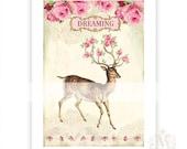Deer print, dreaming, antlers, pink roses, vintage style, home decor, wall art, reindeer, pink Christmas, A4, giclee print