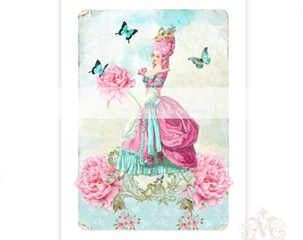 Marie Antoinette print, vintage wallpaper, pink hair, home decor, blue butterflies, French art,  wall art, for her, Marie Antoinette art