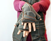 Warm Gray Convertible Mittens, Xmittens Fingerless Gloves, Recycled Fleece, size LARGE