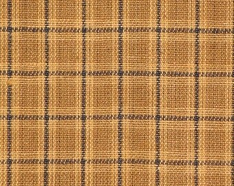 Homespun Fabric Khaki And Black Small Plaid 1 Yard