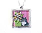 Tabby Cat Necklace/ Gray Longhair Tuxedo Kitty and Daisies/ Jewelry by Susan Faye