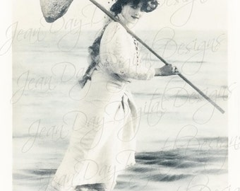 Marg Fishing French Beach, Nautical, gift tag - French Postcard 1906 -Instant Digital Download FrA170