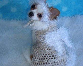 ANGEL sweater - HALO Avail - Avail in Pink - Dog or Cat sweater -Sparkle and Fur Yarns - 2 to 20 lb dog - Made to order