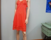 1960s NOS Vanity Fair Slip, Clementine Orange Nylon and Lace Vintage Slip Dress Size 34