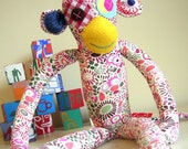 Liberty fabric soft toy monkey made to order