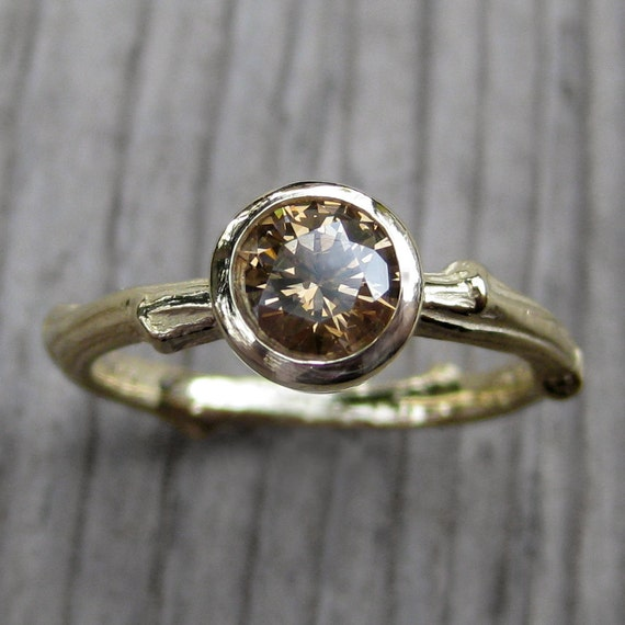 Chocolate Diamond Twig Engagement Ring: Yellow, White, or Rose Gold; Half-Carat