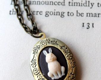 Rabbit Locket Necklace, Bunny Jewelry Chocolate Brown White Chocolate Brass Chain Bunny Necklace Bunny Rabbit Necklace Locket
