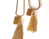 Extra Long Tassel Necklace ID Tag Vintage Brass Gold Color, Simple Statement Modern Classic