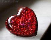 Big Hearts Resin Jewelry, Red Heart Ring, Heart Shaped Valentine Ring for her, Big Bold Red Heart with Rose Pink Highlights by isewcute