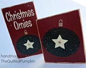 Christmas Ornies Stenciled Wood Block Set
